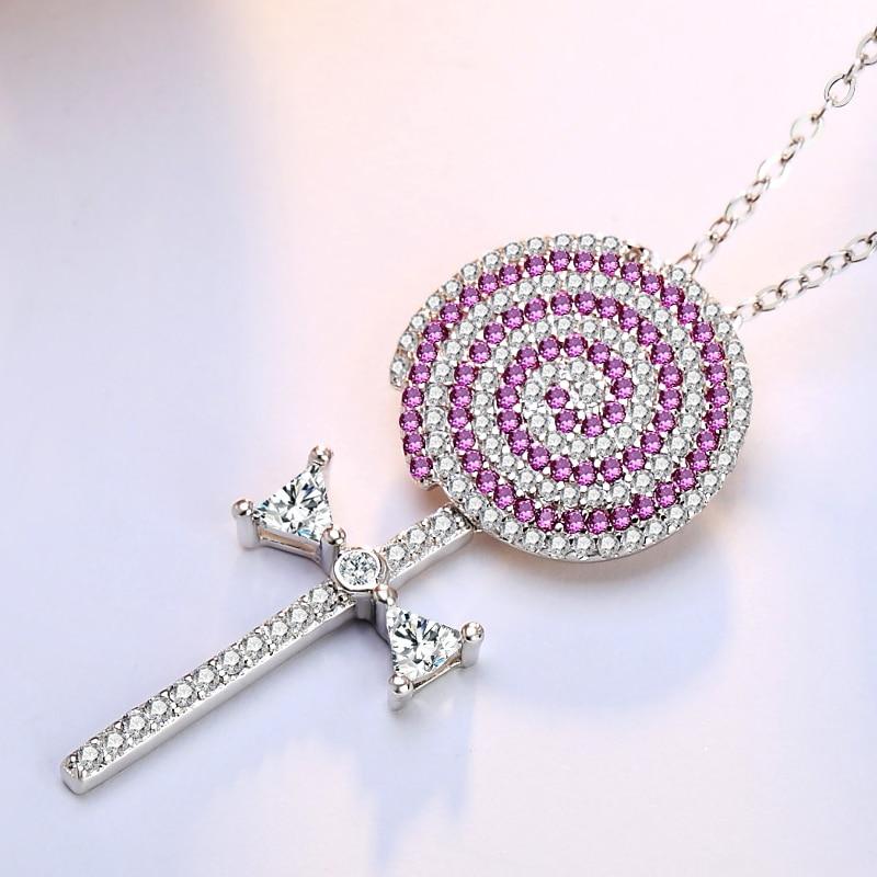 2017 New High Quality Wave Board Sugar Necklace Luxury Full Zircon Pink Color Lollipop Sucker Pendant Necklaces Women Jewelry