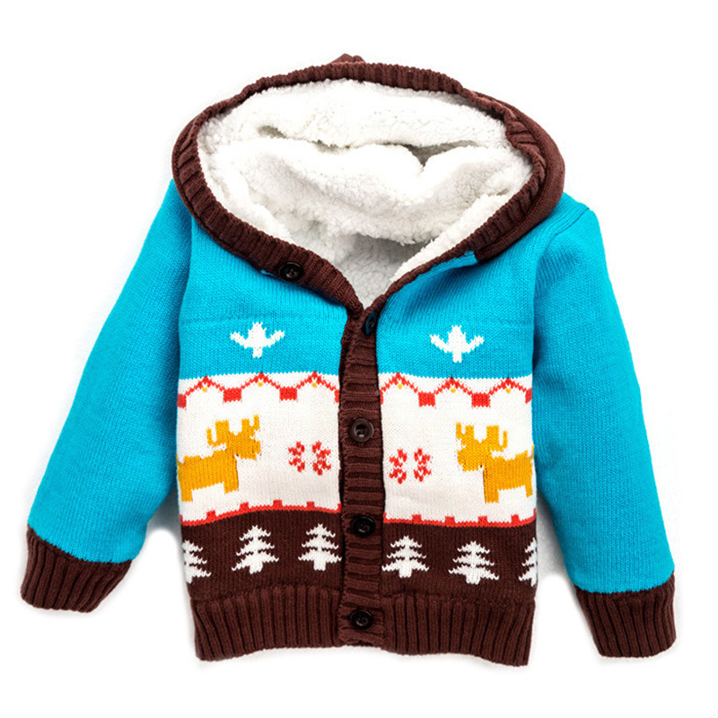 100% Cotton Warm Winter Sweater For 0-4 Years Baby Hooded Sweater Winter Cardigan Baby Boys and Girls Deer Outwear CL0608 t100 children sweater winter wool girl child cartoon thick knitted girls cardigan warm sweater long sleeve toddler cardigan