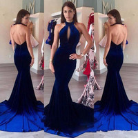 Sexy Backless Velvet Prom Dresses 2017 Halter Keyhole Front Vintage Royal Blue Mermaid Long Formal Party