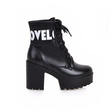 Women Soft Leather Thick high Heel Platform Ankle Boots