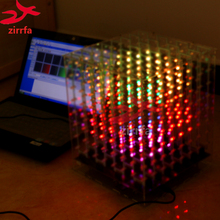 zirrfa 2018 NEW 3D 8 8x8x8 RGB/Colorful cubeeds finished, Excellent animations LED Display Christmas Gift for SD card with box