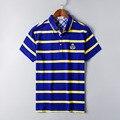 2016 Hot Sale Da Moda Curto Regular 2017 Marca de Alta Qualidade homens do polo camisa nova verão de algodão listrado sólida dos homens ralp grande