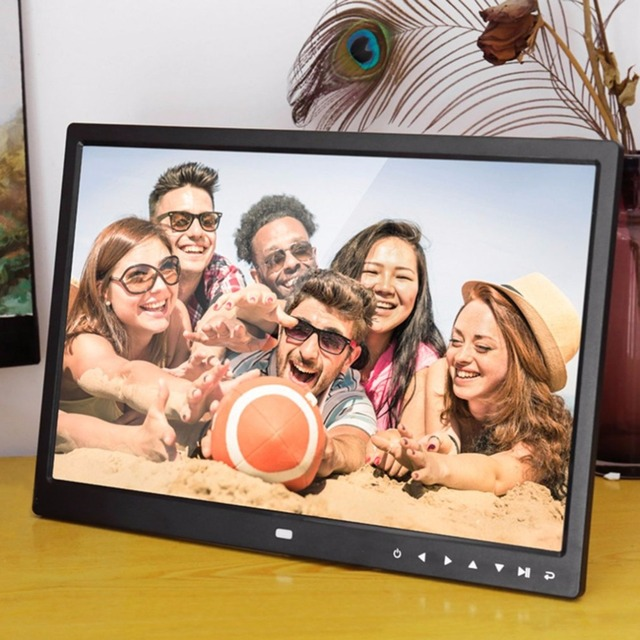 Flash Sale Digital Photo Frame Electronic Album 15 Inches 1280*800 Front Touch Buttons Multi-language LED Screen Pictures Music Video