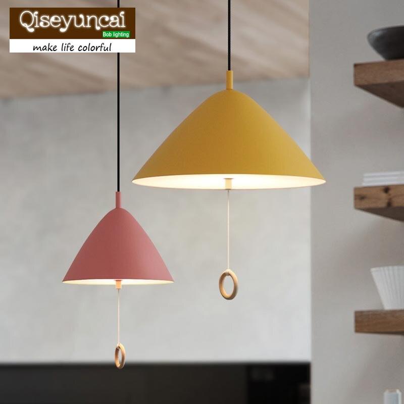 Qiseyuncai The Nordic minimalist modern bedroom bedside lamp restaurant children room Macarons pullswitch Chandelier
