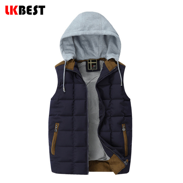 LKBEST men waistcoat 2017 New Men vests Sleeveless down vest  Hooded  Winter Casual Male Cotton-Padded Men's jacket (MJ09L)