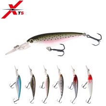 Купить с кэшбэком XTS Fishing Lures 105mm 5.6g Artificial Hard Minnow Bait 6 Colors Suspending Wobblers 0.3-1m ABS Material Fishing Baits 5356