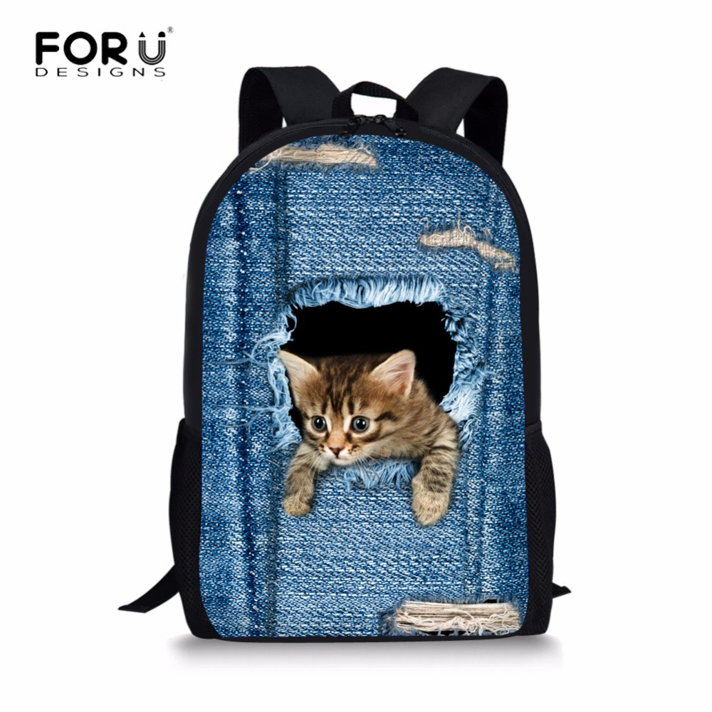 FORUDESIGNS Cat Backpack Cute 3D Animal Denim Backpacks for Children Boys Girls Casual Kids School Bag Mochila Travel Backpack forudesigns 3d printing backpacks for teenager boys girls anime pokemon naruto men felt backpack casual school bagpack mochilas