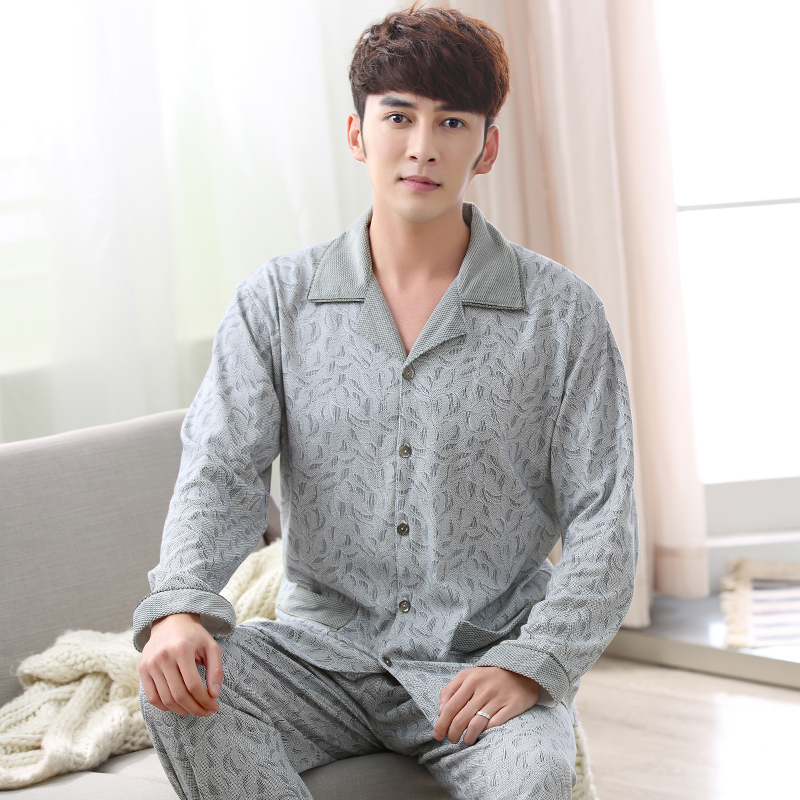 2019 Fashion Brand Mens Pajama Sets Autumn Male Thicken 100% Cotton Sleepwear Suit Turn-down Collar Shirts + Pants Homewear Suit
