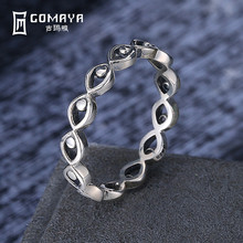 GOMAYA New Arrival Genuine 925 Sterling Silver Romantic Geometry Finger Rings for Women Girls Gift Fine Jewelry S925