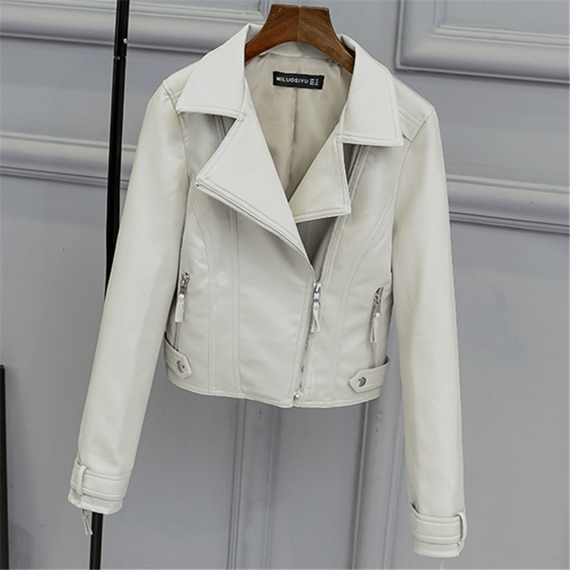 2019 Spring And Autumn New Style Ultra-Short Fashion Ladies Short Section Slim High Waist   Leather   Motorcycle Jacket H00139