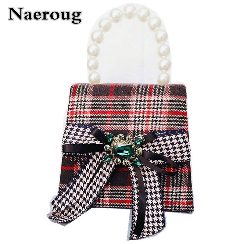 Luxury Superstar Paris Show Tote Bags Gemstone-studded Woolen Bag Pearls Handle Design Handbags Women Plaid Striped Shoulder Bag vintage women s tote bag with strap and plaid design