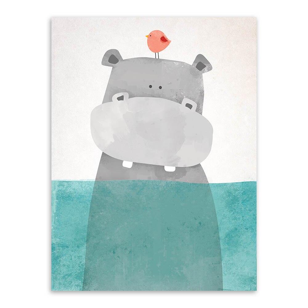 Müasir Nordic Kawaii Ayı Hippo Quş Heyvan Tuvalında Kətan - Ev dekoru - Fotoqrafiya 2