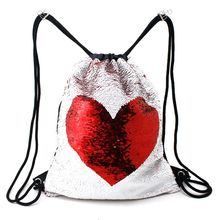 1PC  Unisex Magic Reversible Sequined Mermaid Drawstring Backpack Suitable for Halloween Christmas Valentine's Day Gifts