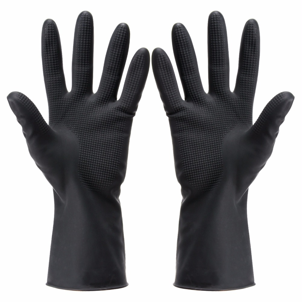 Hair Dye Gloves Black Reusable Salon Hair Colorist Latex Gloves