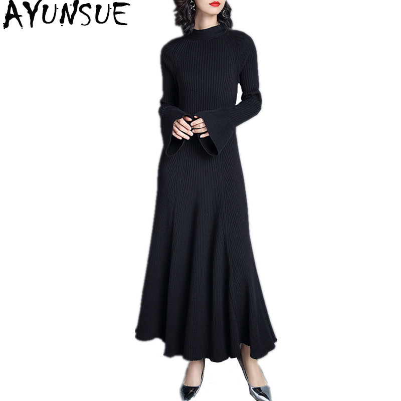 AYUNSUE 2018 Winter Dresses For Women Korean Black Knitted Sweater Dress Female Maxi Dress Flare Long Sleeve vestidos WYQ1119