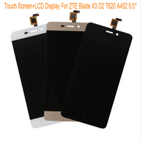 Black White Gold LCD Display TP For ZTE Blade X3 D2 T620 A452 5 0 LCD