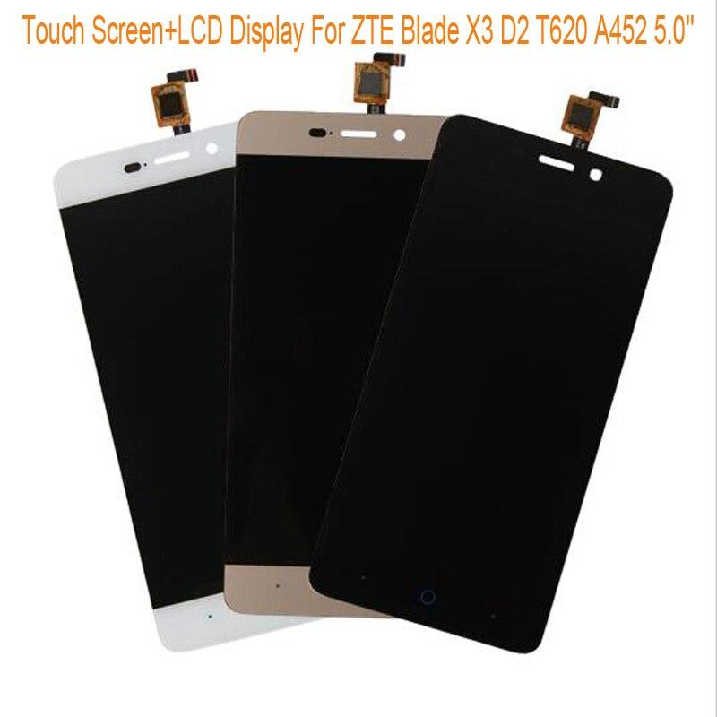 Schwarz/weiß/gold lcd display + tp für zte blade x3 d2 t620 a452 5,0 ''lcd anzeige + touch screen touch panel digitizer montage