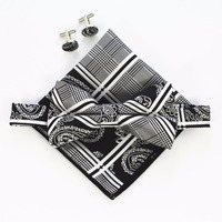Handkerchief-Set-Bow-tie-Cufflinks-Pocket-Squares-5