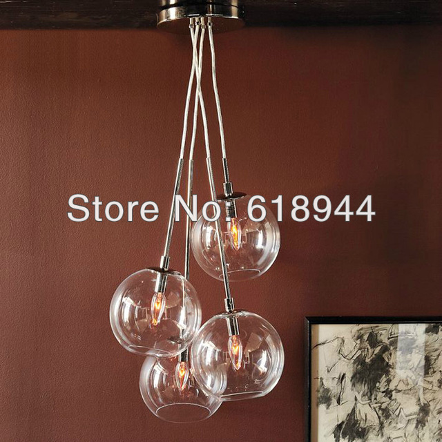 Hot Selling 4 Heads 20cm Modern Brief Round Glass Dining Room Pendant Lights Hanging Light