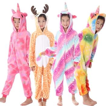 606e02838719 Зимние пижамы кигуруми для девочек и мальчиков; Пижама с рисунком ...