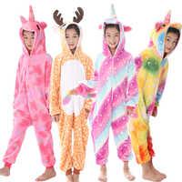 Зимние пижамы кигуруми для мальчиков и девочек, комбинезон с единорогом, мультяшными животными, одежда для сна, теплый комбинезон из коралл...