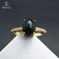TBJ,Black Ethiopian Opal Oval cut 6*8mm natural gemstone classic ring in 925 sterling silver gemstone jewelry with gift box