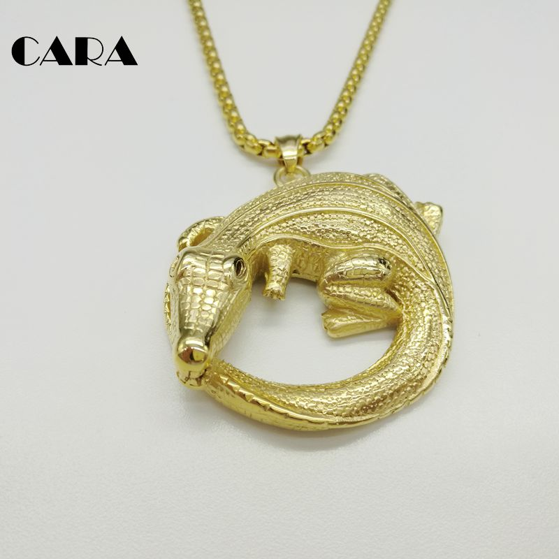 New arrival 316L stainless steel crocodile pendant & necklace men fashion Gold color hip hop necklace jewelry CARA0268 image