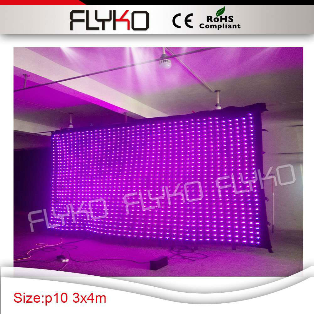 hot rgb beautiful stage backdrop p10 4*3m video curtain with SD card controller