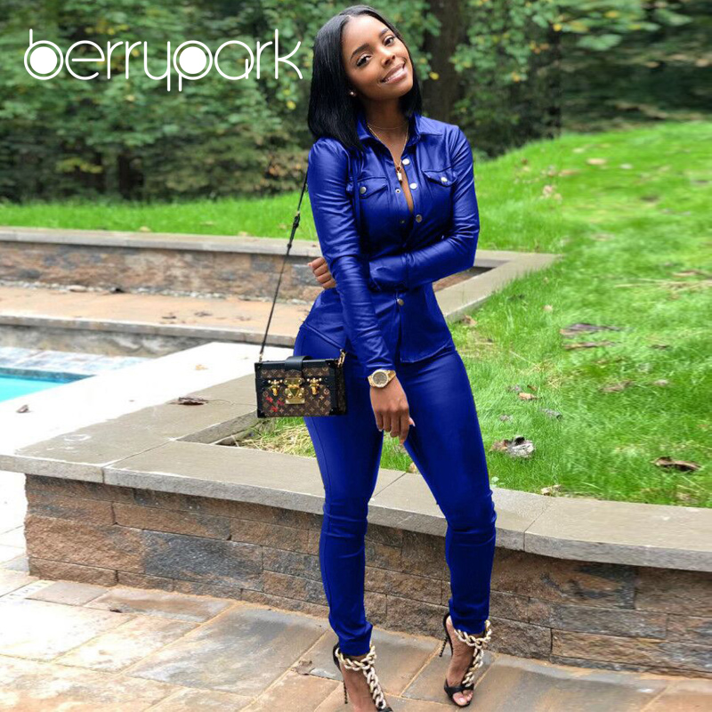 BerryPark High Fashion PU Leather 2Pcs Set 2019 NEW Women Turn-Down Collar Pockets Jacket and Pencil Pants Outfits Dropshipping 2