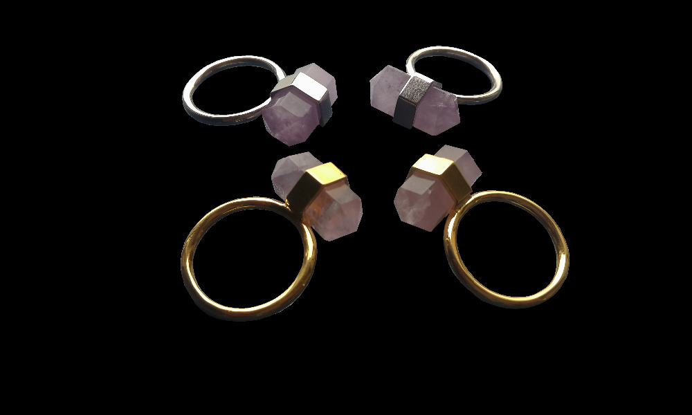Natural High Quality Amethys t Quartz Point Ring,Reiki Hexagon Double Point Gem stone jewelry Ring Gold&Silver Ring 3pcs/lot