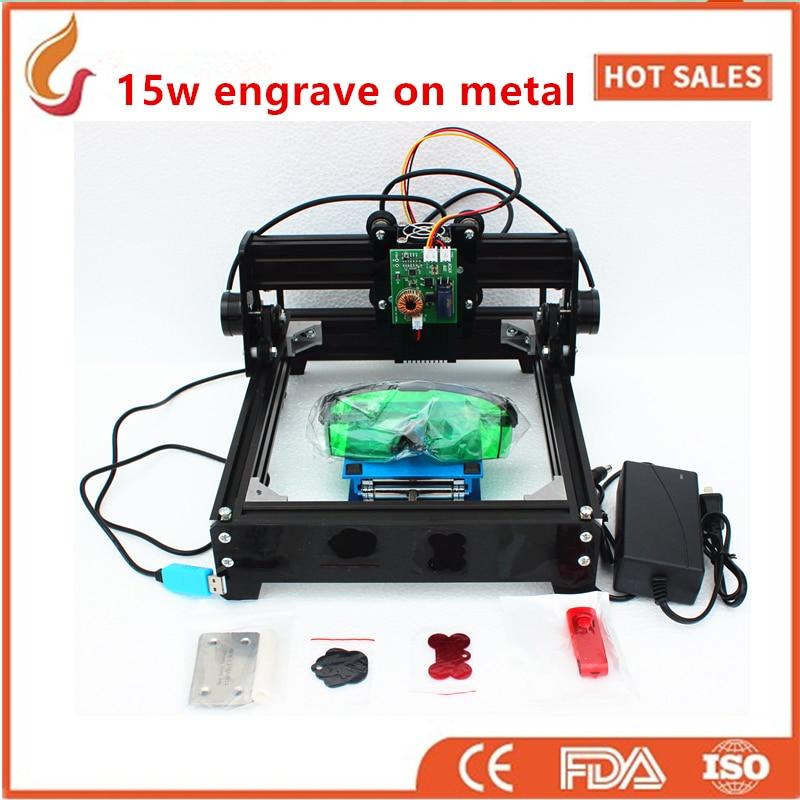 15W DIY laser engraving machine ,big power laser engraver,metal carving marking machine,metal engraving machine mark on dog tag