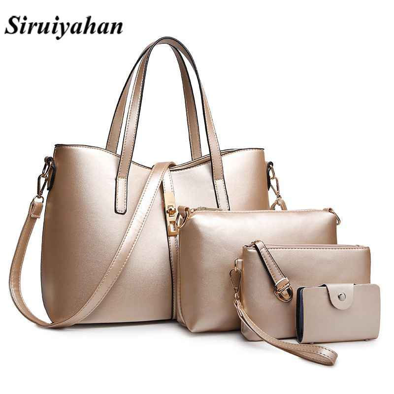 Siruiyahan Luxury 3Set Handbags Women Bags Designer Leather Purses Handbags  Large Shoulder Bag Female Bags Bolsa 52d29783fe855