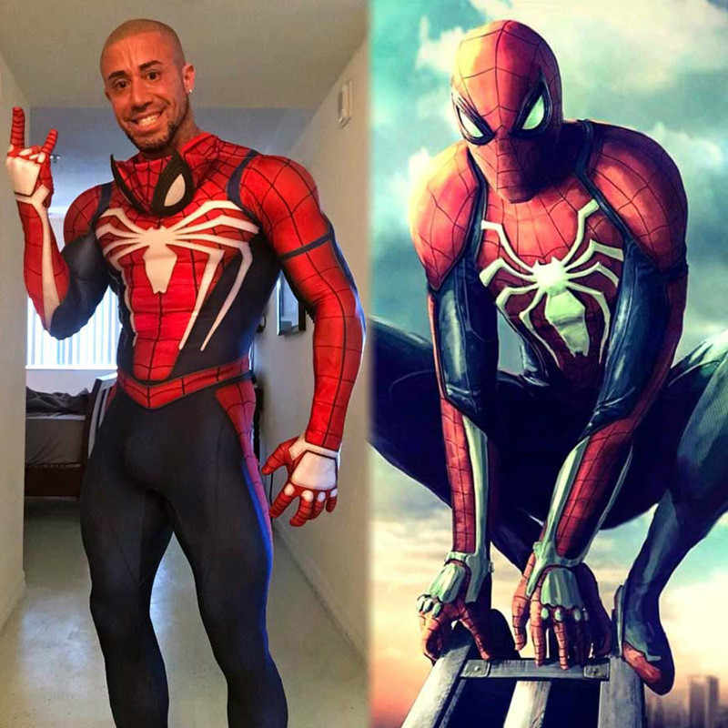 Alta qualidade spiderman traje terno cosplay jogo ps4 ps4 insone escarlate spider man spider-man 2099 do regresso a casa do simbiota adulto