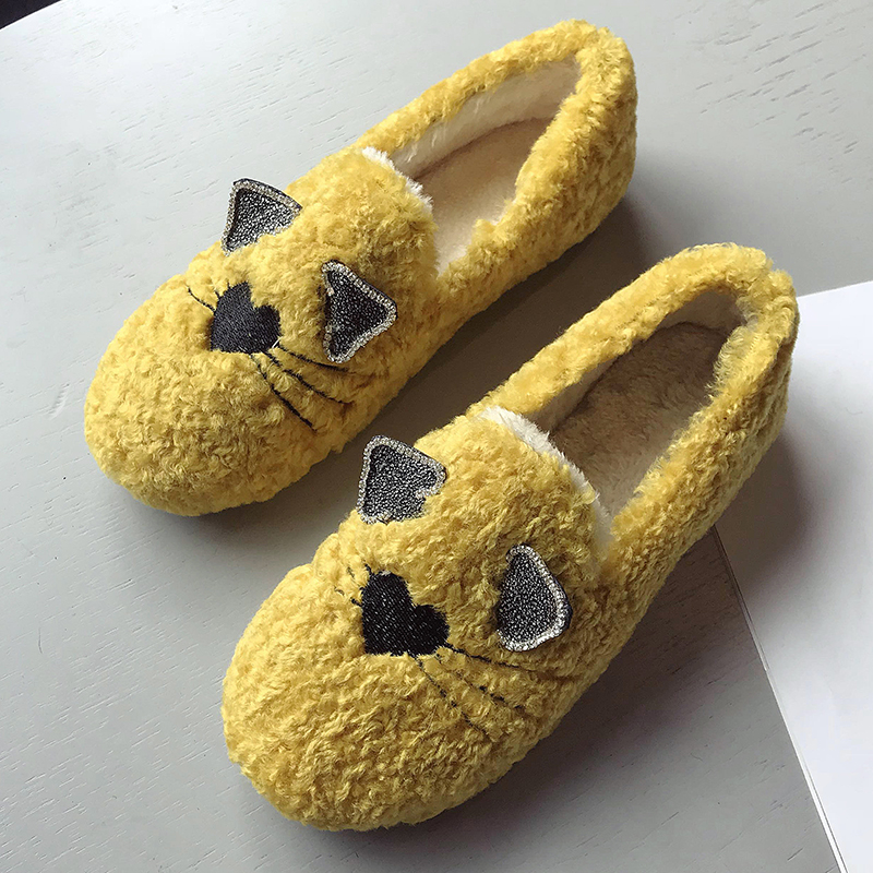 Winter Fur Plush Loafers Women Flats Shoes Woman Cute Cat Ballet Dancers Moccasins Zapatillas Ladies Slip On Ballerina Shoes каталог ander