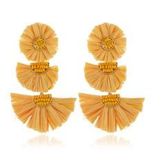 QTWINDY 2019 Fashion Raffia Earrings Tassel Earrings Tiered Dangle Statement Earrings Light Weight Vivid Colorful Jewelry colorful enamel green tassel dangle earrings