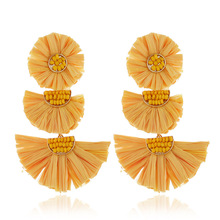 QTWINDY 2019 Fashion Raffia Earrings Tassel Tiered Dangle Statement Light Weight Vivid Colorful Jewelry
