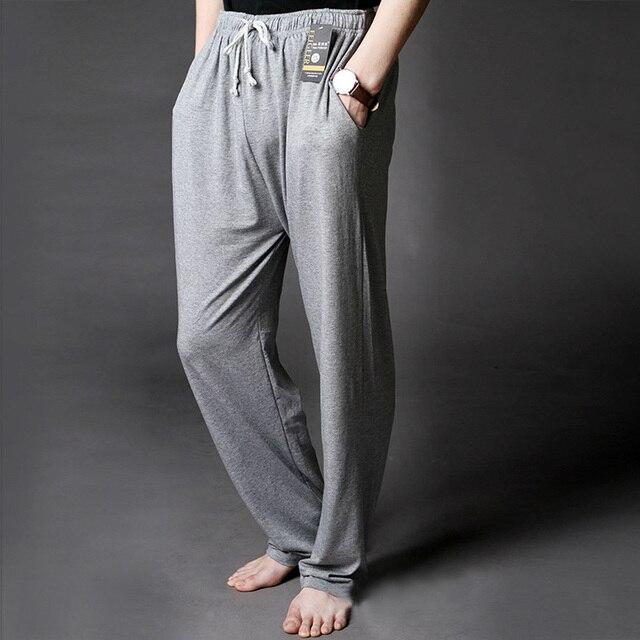 גברים של טרקלין מכנסיים רך מודאלי דק שינה Bottoms סביבה צביעה Loose מקרית פיג 'מה חליפת עבור את ארבע עונות בתוספת גודל
