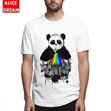 Rainbow Panda Tee For Male New Camiseta Round Collar Free Shipping Shirt