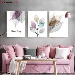 Image 1 - צבעי מים מופשט עלה בד ציורי קיר נורדי כרזות הדפסי מינימליסטי קיר אמנות תמונות לסלון חדר שינה