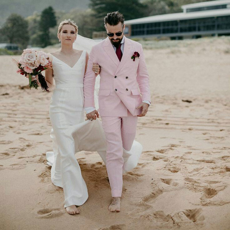 Summer Wedding Pink Linen Men Suits For Beach Party Groom Tuxedos Slim Fit Terno Masculino Casual Costume Homme 2Piece Coat Pant