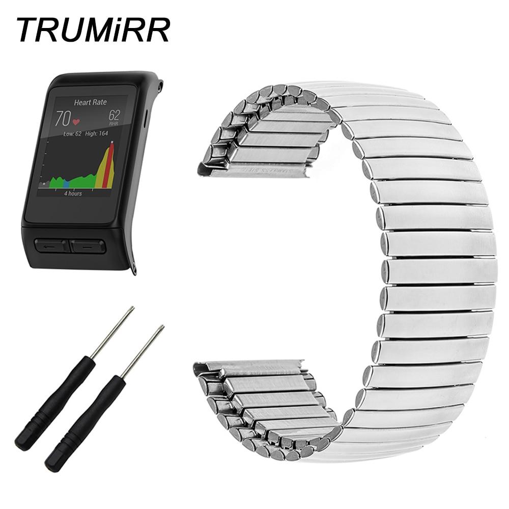 24mm Elastic Stainless Steel Watchband + Tool for Garmin Vivoactive HR GPS Sport Watch Band Wrist Strap Link Bracelet Silver часы спортивные suunto spartan sport wrist hr all black цвет черный
