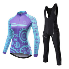 цена на Long Sleeve Women's Breathable Cycling Jersey Set MTB Bike Clothing Polyester+Lycra Bicycle Clothes Ropa Ciclismo Sport Suit