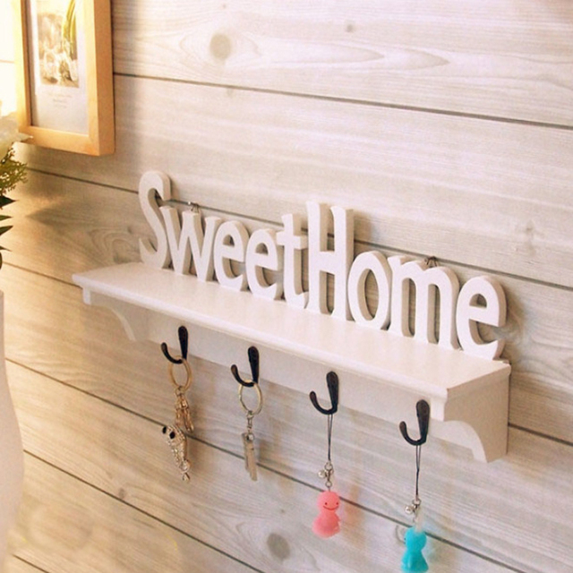 Wooden Letters Carved Hollow Storage White Wall Hook Clothes Key ...
