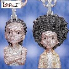 سلسلة بدلاية مرصعة بالزركونيوم للرجال/النساء صغيرة مرصعة بحجر الهيب هوب ذهبي وفضي اللون سلاسل ساحرة مجوهرات