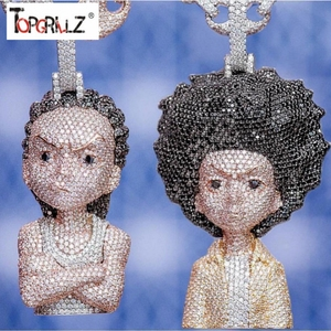 Image 1 - Iced Out The Boondocks Pendant CZ Necklace Chain Mens/Women Micro Paved Hip Hop Gold Silver Color Bling Charm Chains Jewelry