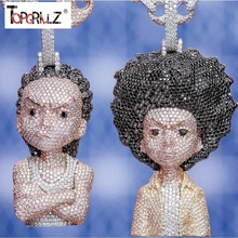 Iced out pingente boondocks cz corrente, masculino/feminino micro pavimentado hip hop ouro prata cor bling charme joias correntes