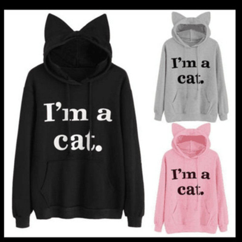 Dropshipping Women Sweatshirt Cat Slogan Print Cat Ear Kawaii Hoodie Sweatshirt New Black Print Cute Pullovers Long Sleeve