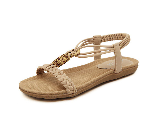 10 42 plus size Bohemian womens Sandals shoes 2016 summer new beaded comfortable female flats sandals Appartement trois LS