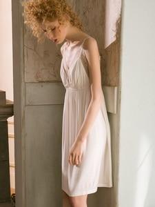 Image 2 - Sexy Modal V neck White Lace Nightgowns Womens White Cotton Sleeveless Sleepwear Loose Nightwear