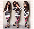 Baby Kids Girls Clothes Spring Cute Long Sleeve Stripe Tops Flower Casual Shirt Floral Pants 2Pcs Outfits Sets 2 3 4 5 6 7 Years